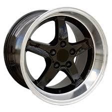 17x10 mustang wheels mustang cobra r 95 dished wheel 17x10 5 black machined lip 94 04