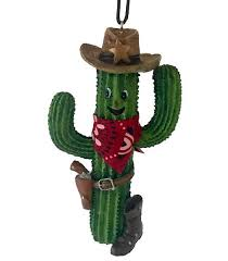 southwestern christmas ornament smiling saguaro cowboy with boot