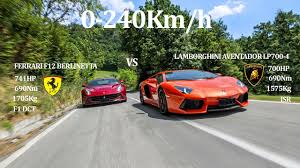 berlinetta vs lamborghini aventador battle f12 berlinetta 741hp vs lamborghini aventador