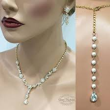wedding backdrop necklace gold bridesmaid teardrop jewelry set backdrop necklace earring