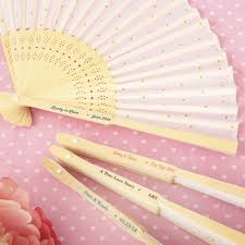 personalized folding fans personalized wedding fan favors gold dot silk folding fan