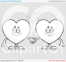 cartoon clipart of heart card suit mascots holding hands vector