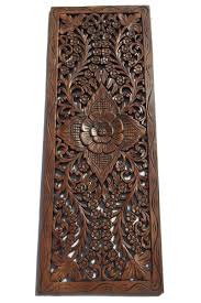 Home Decor Wall Hangings Floral Wood Carved Wall Panel Wall Hanging Decorative Thai Wall