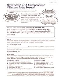 dependent and independent clauses worksheets 5th grade