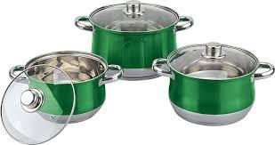 Kitchen Set Aluminium Royal Royal Cuisine 3 Piece Set Coloured Stainless Steel Stock Pot Set