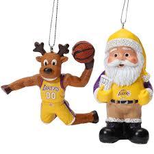 los angeles lakers reindeer santa 2 pack ornament set