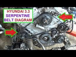 2001 hyundai santa fe alternator replacement serpentine belt replacement and diargam on hyundai 3 3 engine