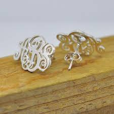 monogram jewelry cheap personalized initial earring monogram 925 sterling silver custom 3