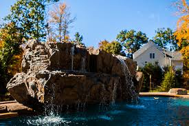 Waterfall Backyard Custom Pool Waterfalls Water Features Ponds U0026 Backyard