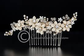 wedding hair combs gold bridal hair comb of seed bead flowers and crystals beaded