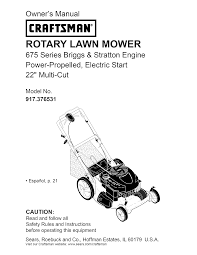 Crafstman by Craftsman Lawn Mower 917 376531 User Guide Manualsonline Com