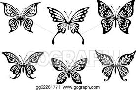 vector illustration black butterfly tattoos and silhouettes