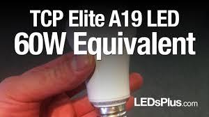 60 watt equivalent led light bulbs tcp 10w a19 a shape youtube