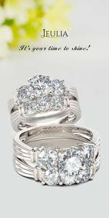 Jeulia Wedding Rings by 3pc Crown Created White Sapphire Wedding Set Wedding Set White
