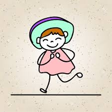 happiness character drawing colorful happiness concept happy girl character