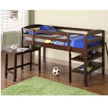 Twin Size Loft Bed With Desk by Solid Wood Low Loft Bed With Shelves And Pull Out Desk