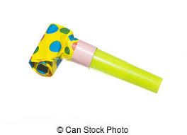 new years party blowers party noisemakers on white a of colorful party stock