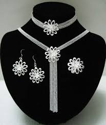 silver jewellery necklace sets images Evystz 12 hot selling fashion silver flowers jewelry set for jpg