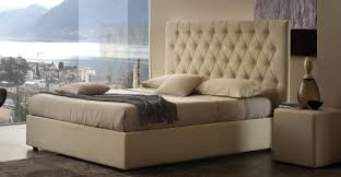 diamond storage bed in leather with a space saving compartment and