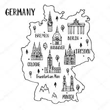 Map Of Germany Cities by Handdrawn Map Of Germany U2014 Stock Vector Ninafedorova 119501060