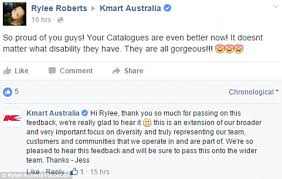 kmart s boots australia kmart australia praised for including models with a disability in