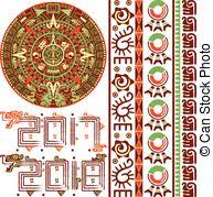 aztec calendar vector of aztec calendar ancient ornaments eps