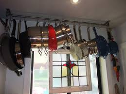 lighted hanging pot racks kitchen practical and attractive ceiling pot rack home painting ideas