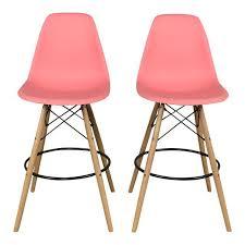 Mid Century Bar Stool Pink Mid Century Bar Stools Set Of 2 Chairish
