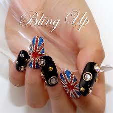 english flag nail art featuring swarovski rhinestones and metal