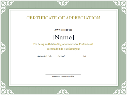 Professional Certificate Templates Free certificate of recognition for administrative professional