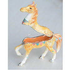 Crystal Home Decor Wholesale Yellow Ornated Horse Crystal Jewelry Box Trinket Box Collectible
