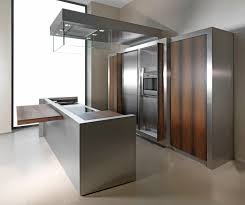 add glossy metal kitchen cabinets and wide range hood in unusual