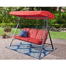 Patio Swing Folds Into Bed Amazon Com Mainstays 3 Seat Porch U0026 Patio Swing Tan Garden