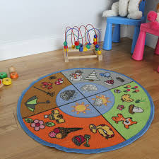 Colorful Kids Rugs by Circle Four Seasons Educational Large Round Kids Rug Kukoon