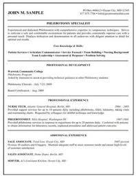 Phlebotomy Sample Resume by Job Resume Jobresumes On Pinterest