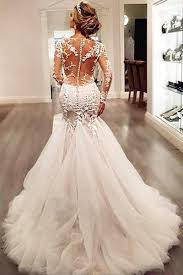 affordable bridal gowns sleeve lace mermaid wedding dresses see through