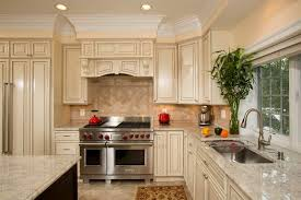 beige cabinet and shining white marble countertop for country