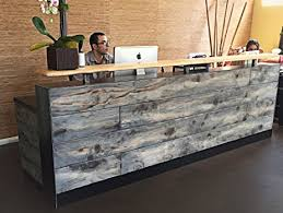 Reception Desk Wood 4 Foot Reception Desk Made With Reclaimed Wood