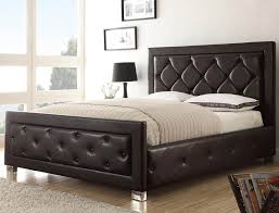 Upholstered Headboard Bed Frame Bedroom Low Profile Bed With Leather Upholstered Headboard And