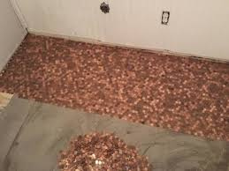Bathroom Floor Pennies Dad And Daughter Glue Pennies To Their Old Floor And The Results