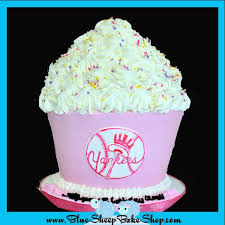 pink yankees giant cupcake birthday cake custom cakes nj by the