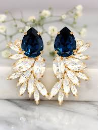 navy blue earrings blue navy earrings bridal navy blue earrings swarovski bridal