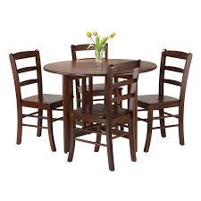 amazon com winsome 5 piece alamo round drop leaf table with 4