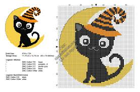 free halloween download black cat on the moon free halloween cross stitch pattern 65x70
