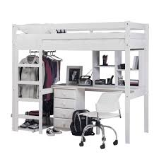 White High Sleeper Bed Frame White Wooden Loft Bed Frames Completed With Desk Also Shelves Feat