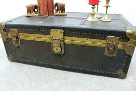 Vintage Trunk Coffee Table Coffee Table Side Table Leather Trunk Metal Coffee Journey Vintage