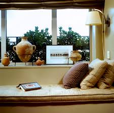 decoration fascinating wooden bay window with brown floral couch