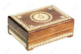 Box Ornament Wooden Box Decorated With An Ornament Of Straw Royalty Free