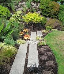 outdoors diy rock garden path idea with green plants natural