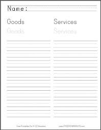 goods and services worksheet for grade 1 student handouts